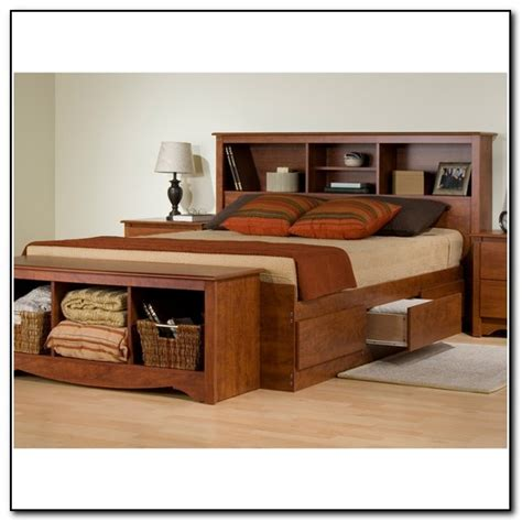 platform bed with drawers and bookcase headboard beds
