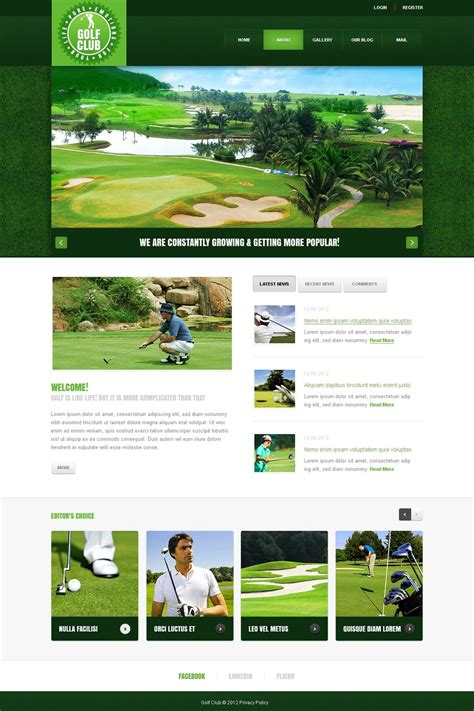 bootstrap themes free golf golf joomla template 40405