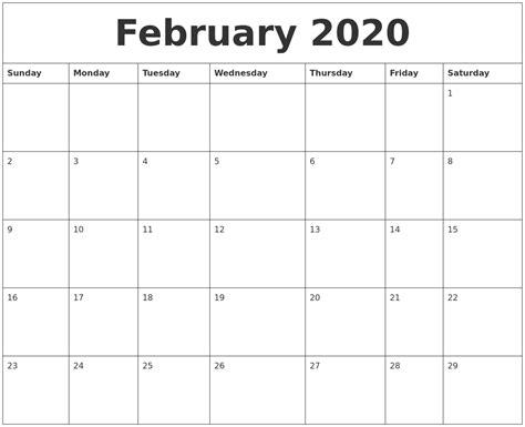 february calendar monthly