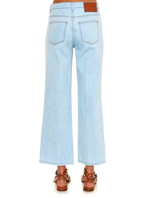 Highwaist Wide Light valentino high waisted wide leg cropped in blue lyst
