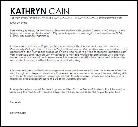 Dean Of Students Cover Letter Sample   LiveCareer