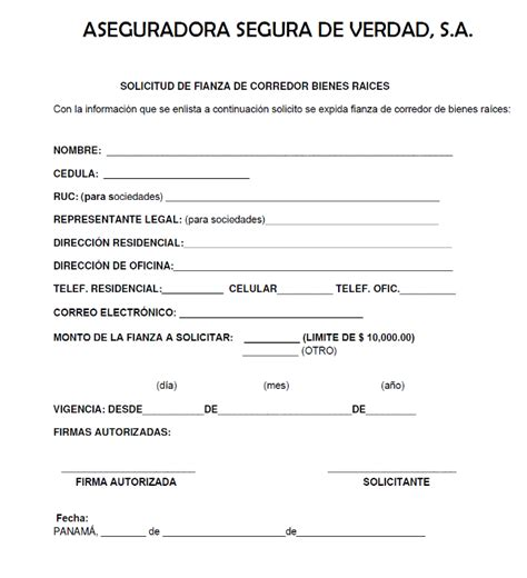 formato de referencias comerciales formulario de solicitud de fianza