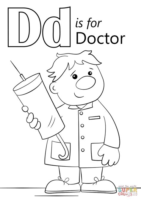 preschool doctor coloring page letter d is for doctor coloring page png 849 215 1 200 pixels