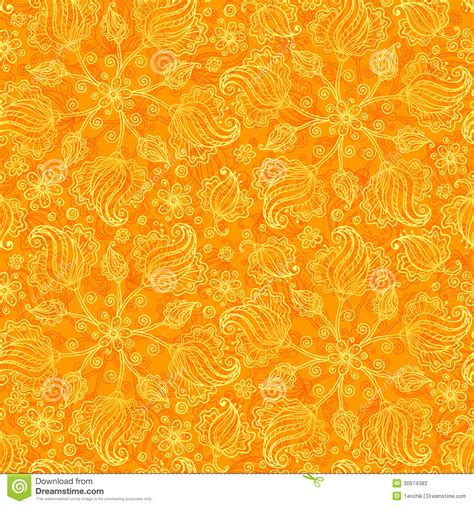 doodle orang orange abstract doodle flowers seamless pattern stock