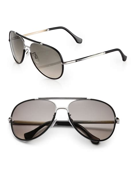 Balenciaga Glasses by Balenciaga Leather Trimmed 60mm Aviator Sunglasses In