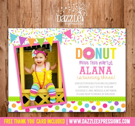free thank you card templates donut donut birthday photo invitation printable