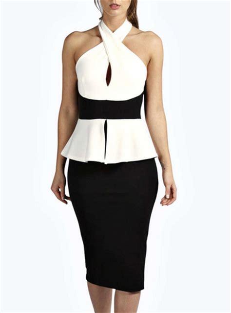 halter peplum dress sleeveless wrap neckline white