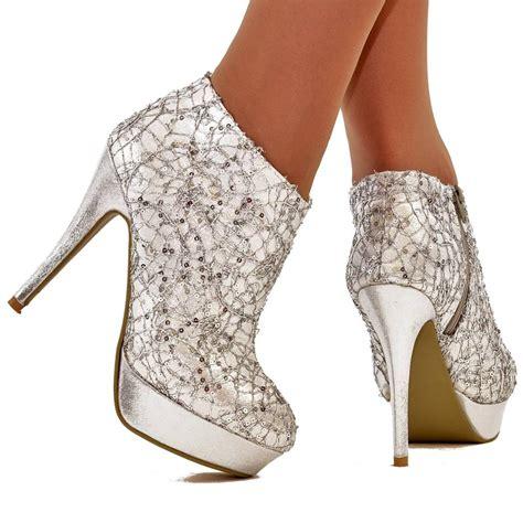womens size uk 5 silver sequin sparkly platform high heel