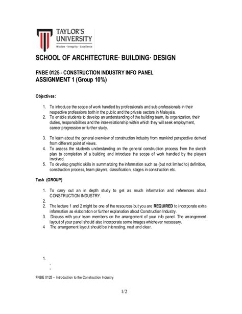 design brief in construction semester 1 introduction to construction industry project
