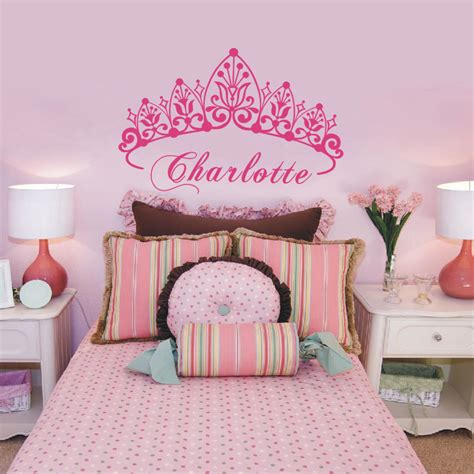 princess home decor baby girl crown wall sticker custom princess name decals