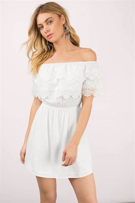 The Shoulder Lace Dress White white dress shoulder dress half lace dress