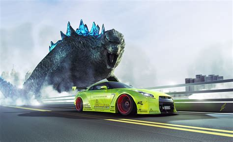 nissan godzilla wallpaper godzilla finally meets the nissan gt r gtspirit