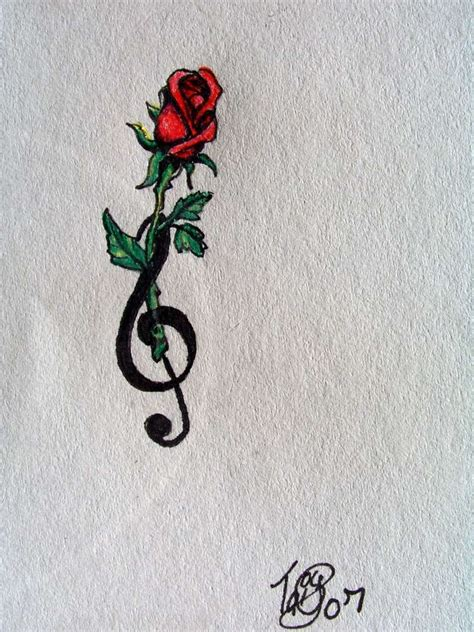 treble clef with rose tattoo and treble clef by nonnyarie on deviantart