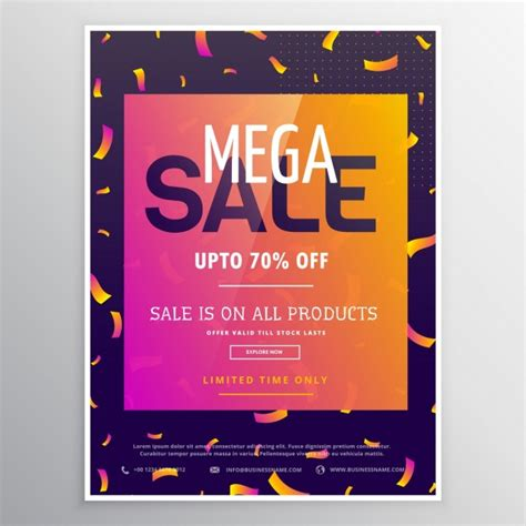 colorful posters colorful poster with confetti for discounts vector free
