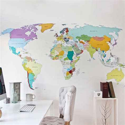 map of world wall sticker fancy printed world map wall decal