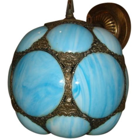 Turquoise Light Fixture Vintage Turquoise Blue Slag Glass Shade Pendant Hanging Sold On Ruby