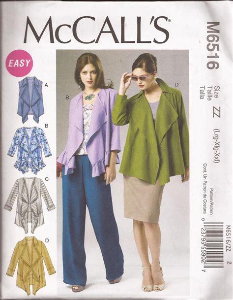 drape pattern mccalls 6516 2012 unlined vest jacket front drape ruffle