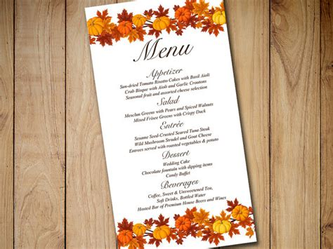 fall menu template fall wedding menu card template wedding