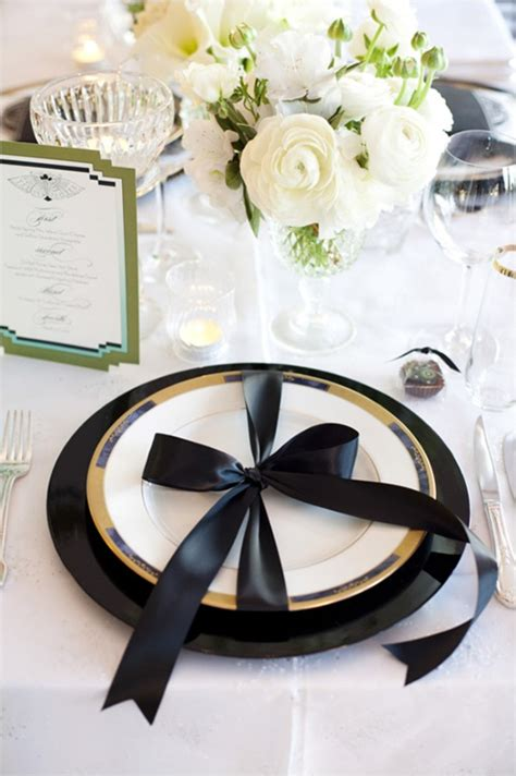 black and white table setting black and gold wedding table