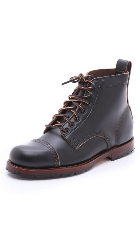 mens black cap toe boots eastland usa cap toe boots in black for lyst