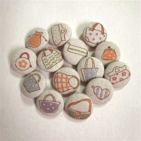 Handcrafted Buttons - bags set 14 assorted light beige fabric covered handmade