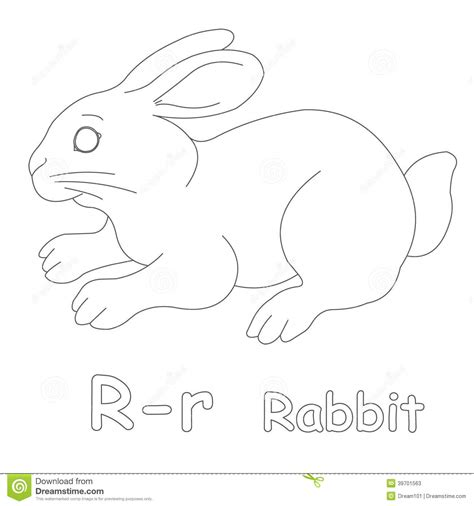 R For Rabbit Coloring Page by R For Rabbit Coloring Page Stock Illustration Image Of