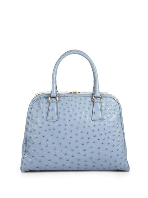 bags and lights for baggers lyst prada ostrich pyramid bag in blue