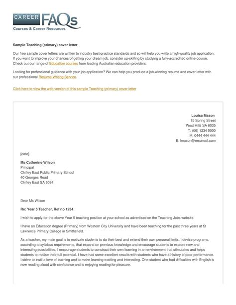 cover letter for primary calam 233 o teaching primary cover letter