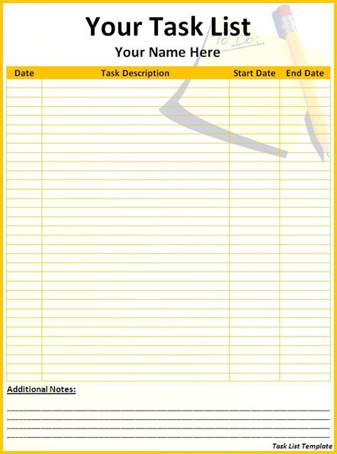 tasks template task list template word excel formats