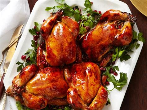 glazed cornish hens with pomegranate rice stuffing recipe food network kitchen food network