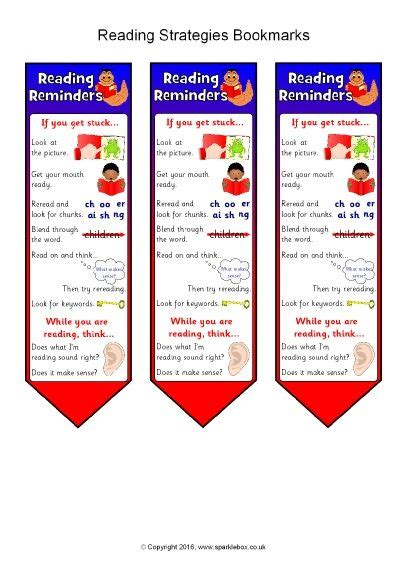 printable bookmarks sparklebox reading strategies bookmarks sb11512 sparklebox