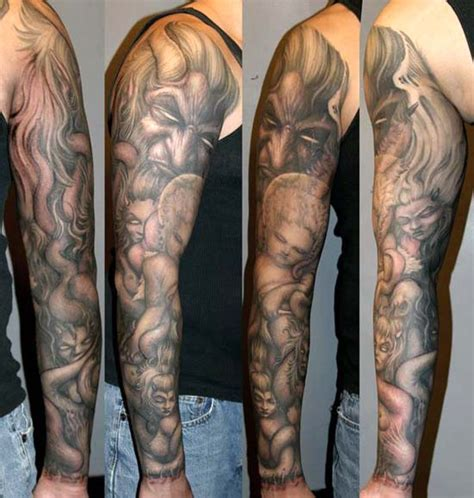 tattoo angel and demon sleeve demon with angels and succubi sleeve tattoo by paul booth