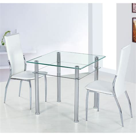 square dining table and 2 chairs home gift como square clear glass dining table and 2 ivory pisa