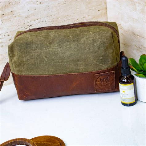 Dopp Kit Bag Pouch Canvas Firefly Bag Green Fireflay personalised green canvas and leather wash bag dopp kit by