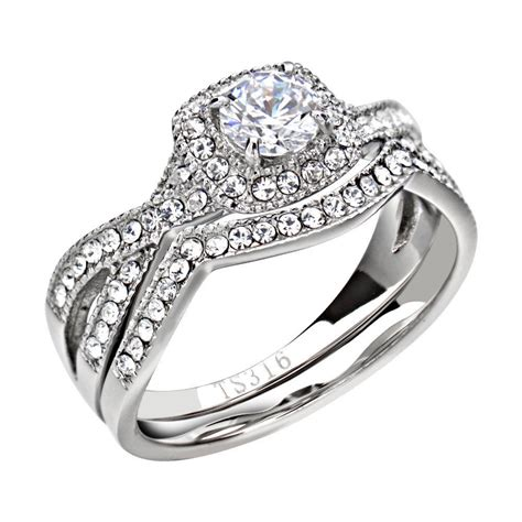 engagement rings for women stainless steel clear round cubic zirconia women wedding