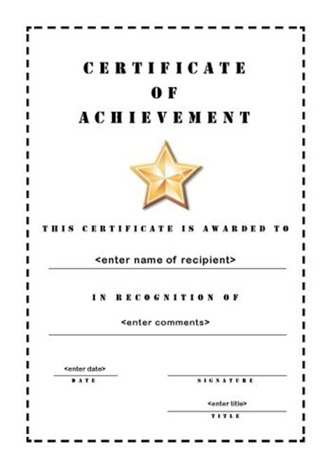 free printable certificate of achievement template award certificates templates certificate templates