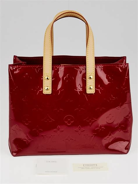 louis vuitton red monogram vernis reade pm tote bag