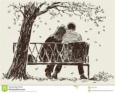 Sur Le Banc by Couples Sur Le Banc Illustration De Vecteur Illustration