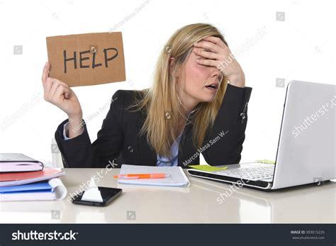 young beautiful business woman suffering stress stock
