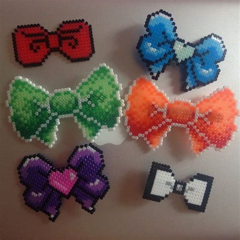 perler bead bow bows perler by marcia9213 perlers