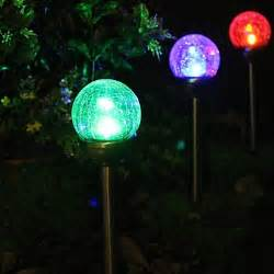 solar color changing garden lights set of 2 color changing solar crackle glass stake