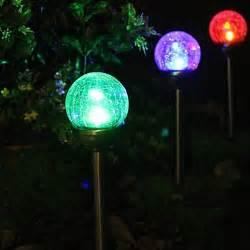 color changing solar lights set of 2 color changing solar crackle glass stake