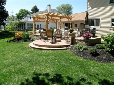 patio landscaping patio pergola pit sitting walls patio landscaping