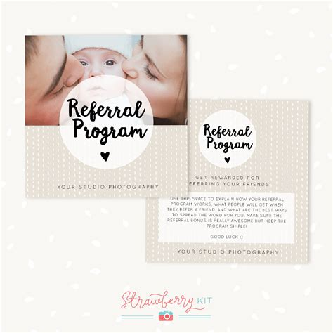 referral card template referral cards photoshop template strawberry kit
