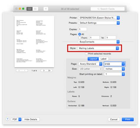 printing address labels on macbook pro busycontacts mac printing envelopes and mailing labels
