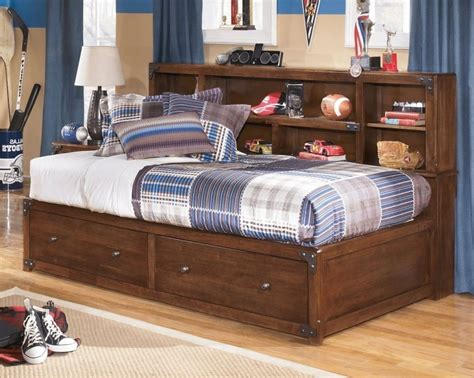 twin storage bed with bookcase headboard zayley twin bookcase bed two drawer night stand by ashley