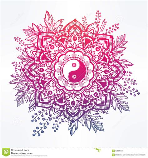 ornate flower with yin and yang symbol stock vector