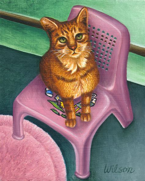 Cat On The Chair by Cat Sitting On A Painted Chair By Carol Wilson