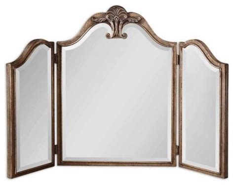 tri fold mirrors bathroom uttermost ellington tri fold table top mirror 36 625w x