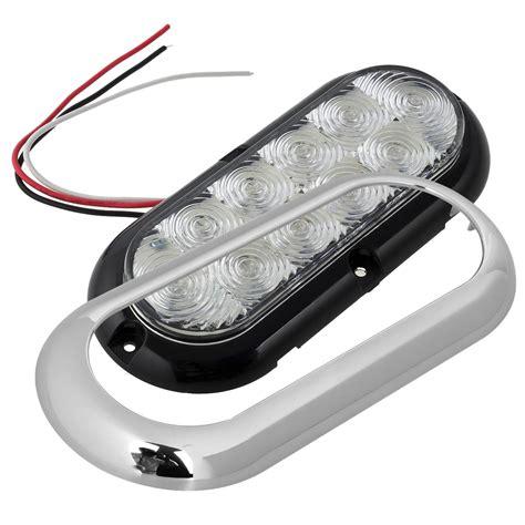 oval white led lights 6 quot oval chrome white 10 led flange mount stop turn